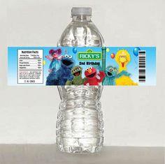 Sesame Street Elmo birthday water bottle label