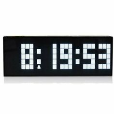 ECVISION Large Big Number Jumbo LED snooze wall desk Retro alarm Clock with calendar -White Light