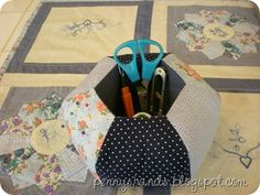 Hexie Caddy Pincushion . Totally handstitched. A must for hexie lovers!