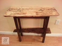 Pallet wood top and bottom shelf! 2x4 for the legs and skirt. Natural stain for the top and dark walnut stain everywhere else! A nice piece for a point of interest in the home! What do you think?