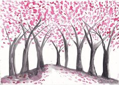 Cherry Blossom Trees Pink White and Black Art Watercolor Painting Print 7x5
