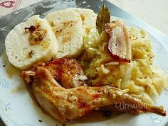 Králík/zajíc se zelím Chicken Wings, Shrimp, Chicken Recipes, Treats, Cooking, Sweet Like Candy, Kitchen, Goodies, Sweets
