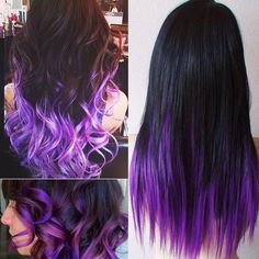 How to Go from Dark Hair to Pastel Color in One Set of Hair Extensions black purple colorful hair styles in straight or wavy with colorful hair extensions: