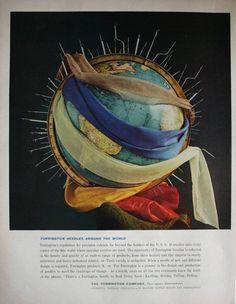 1961 Torrington Machine Needle Design World Globe Art Vintage Trade ad #Torrington