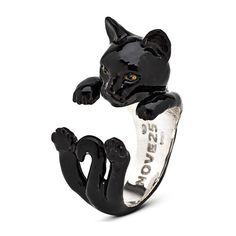 Cat Fever Black Enamel European Silver Hug Ring ($390) ❤ liked on Polyvore featuring jewelry, rings, accessories, silver rings, cat ring, enamel jewelry, silver jewelry and silver cat ring