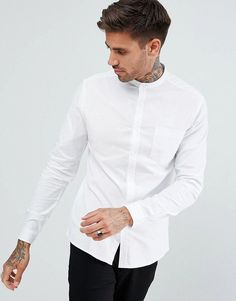 ASOS Casual Skinny Oxford Shirt In White With Grandad Collar - White