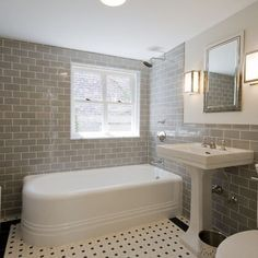 Chic gray bathroom with light beige walls paired with pale gray subway tile backsplash. Description from decorpad.com. I searched for this on bing.com/images