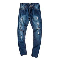 33b5435b94 Sopety Men's Slim Fit Straight Denim Vintage Style With Broken Holes Jeans  Pants (XL, Blue)