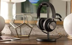 Elevates, charges and displays micro-USB powered wireless headphones. Charges via integrated power cable & included wall plug. Additional, in-base USB for smartphone charging. Ultra-soft leather pad and post supports all size headphones. Diy Headphone Stand, Diy Headphones, Cube Design, Acetone, Desk Accessories, 3d Printer, Best Gifts, Usb, Watches