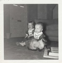 Original Vintage Photograph Small Girl & Baby on Floor With Siamese Cat 1950s