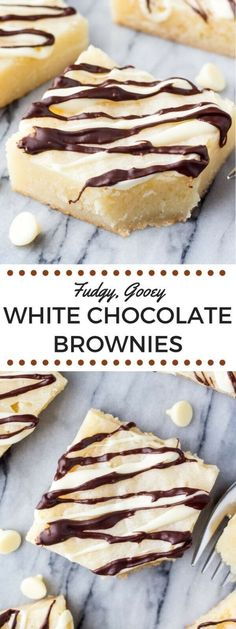 Fudgy, gooey white chocolate brownies are heaven in brownie form. If you love white chocolate - this recipe is for you. Lots of tips for fudgy brownies. Nutella Brownies, Fudge Brownies, Beste Brownies, White Chocolate Desserts, White Chocolate Brownies, Chocolate Cupcakes, Chocolate Chocolate, Semi Sweet Chocolate Chips, Chocolate Decorations