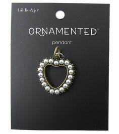 hildie & jo™ Ornamented Heart Shape Antique Gold Pendant - Pearls