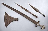 Viking sword, Spearheads and Battle-axe, found in the London Area  Collection held by the British Museum    article written by Barry Ager( The BBC, 2012)