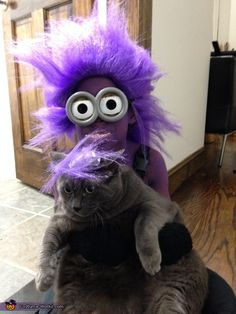 Evil purple minion costume DIY. Overalls, purple long ...