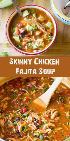 Skinny Chicken Fajita Soup, a zesty low fat, gluten free meal with an easy low carb option! I just can't get enough soup this time of year. Neither can my family. They would eat soup every day, if I made it for them. Any soup is a good idea when[. Easy Soup Recipes, Good Healthy Recipes, Cooking Recipes, Keto Recipes, Fat Free Recipes, Low Fat Chicken Recipes, Healthy Low Fat Meals, Healthy Crockpot Soup Recipes, Low Carb Chicken Soup