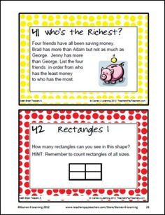 Become a 'Brain Teaser' - teaser their brains with these math brain teasers. This collection of Printable Math Problems and Math Brain Teasers Cards from Games 4 Learning contains 54 printable math brain teasers. $