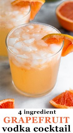 Grapefruit cocktail recipe (grapefruit crush) using grapefruit juice, vodka, Triple Sec, and sparkling water. Makes the perfect easy summer cocktail recipe. Healthy Alcoholic Drinks, Yummy Drinks, Alcholic Drinks, Fun Drinks, Easy Summer Cocktails, Refreshing Cocktails, Grapefruit Uses, Dairy Free Recipes