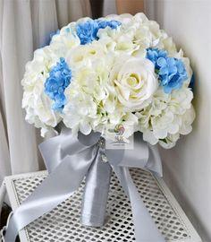 Pas cher 2015 Bouquet de mariée Handmade fleur artificielle noces de fleurs bleu blanc Rose Bouquet de mariage, Acheter  Bouquets de mariage de qualité directement des fournisseurs de Chine:  Détails du produit        Description: mariage floral bleu ligne           Floral: bleu ligne rose, hortensia..