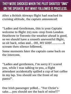 "They Were Shocked When The Pilot Shouted ""OMG"" On The Speaker. But What Followed Is Priceless. funny jokes story lol funny quote funny quotes funny sayings joke hilarious humor stories funny jokes"