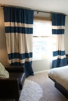 Beauty and the Green: Easy, Breezy, Budget Friendly Drop Cloth Curtains  Instead of Blue stripes, white to have open space