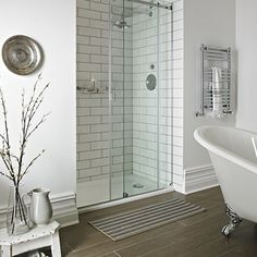 Fired Earth - Sliding Door Enclosures - Shower Enclosures - Shop by type - Bathrooms White Master Bathroom, Small Bathroom With Shower, Downstairs Bathroom, Walk In Shower, Small Bathrooms, Lodge Bathroom, French Bathroom, Shower Rooms, Master Baths