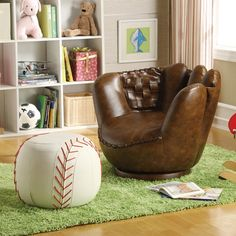 Make this the designated reading chair!  Fun Sport Themed Baseball Glove Chair & Baseball Ottoman at Belfort Furniture