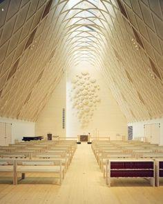 The interior is beautiful!  Kuokkala Church in Jyväskyla, Finland - Lassila Hirvilammi Architects