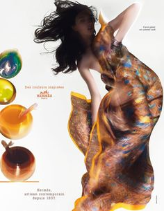 Advertisement by Hermes. This advertisement by Hermes was shown in the March issue of Veranda magazine. Some of the ads impress me . Fashion Prints, Fashion Art, Editorial Fashion, Fashion Beauty, Fashion Design, Boho Fashion, Sophie Dahl, Paolo Roversi, Dior Haute Couture