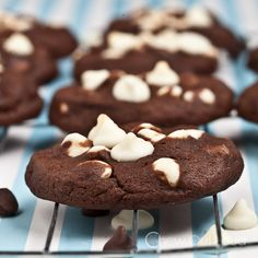 These Triple Chocolate Chip Cookies resemble a chewy brownie. It's like a brownie-cookie! Chewy, soft, thick, dense, and perfect amount of sweet.