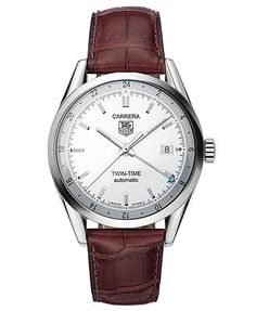 TAG Heuer Watch, Men's Automatic Carrera Brown Crocodile Leather Strap WV2116.FC6181
