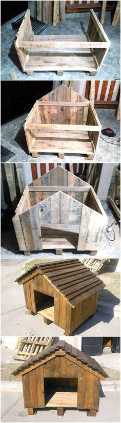DIY Wooden Pallets Made Dog House #WoodworkingDogHouse