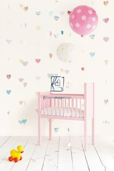 Eijffinger Tout Petit 354162 Lots of Love at Wallpaperwebstore Nursery Curtains, Nursery Room, Kids Bedroom, Baby Girl Bedding, Baby Boy Rooms, Baby Girl Birthday Theme, Baby Shower Invitations For Boys, Room Wallpaper, Girl Room