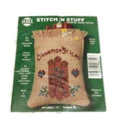Cross stitch kitchen magnet kit,  from  Needlemagic Counted cross stitch Cinnamon Sticks