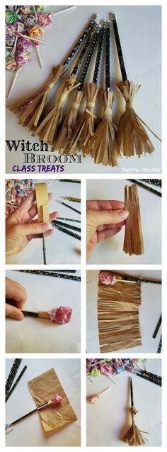 Witch Broom Halloween Class Treats Simple and adorable Halloween treat, and so easy to make! These Witch Broom Halloween Class Treats combine a sweet treat with a Halloween pencil. Halloween Class Treats, Dulceros Halloween, Bonbon Halloween, Adornos Halloween, Manualidades Halloween, Halloween Crafts For Kids, Halloween Projects, Holidays Halloween, Holiday Crafts