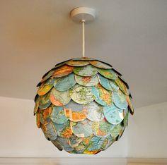 Random World Trip Lamp Shade Vintage Map Hanging Pendant Lighting Eco Home Made to Order. £49.50, via Etsy.