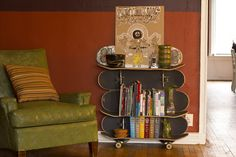 Skateboard bookshelf. We have seen here very creative ideas of bookshelves, this one features skateboards. Using the old worn skateboards that you or your son abandoned in the attic to build a bookshelf might just be the best thing that could ever happen to them. Did you get it DIY'er?