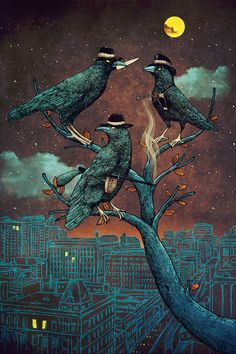 A Murder of Crows by Alvaro Arteaga Crow Art, Raven Art, Bird Art, Art And Illustration, Illustrations, The Crow, Choucas Des Tours, Blackbird Singing, Quoth The Raven