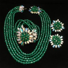Schiaparelli Parure Necklace Bracelet Earrings Vintage Exquisite Emerald & AB RS #Schiaparelli