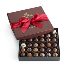 Shop Signature Chocolate - Truffles Gift Box 36 Piece at Godiva Best Chocolate Gifts, Chocolate Lovers, Chocolate Truffles, Chocolate Desserts, Godiva Chocolatier, Xmas Wishes, Chocolate Packaging, Easter Chocolate, Holiday Treats