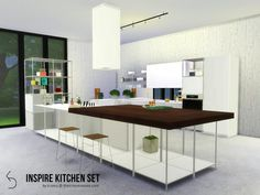 The Sims Resource: INSPIRE Kitchen Set by k-omu • Sims 4 Downloads