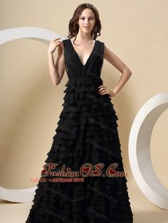 Black Ruffled Layers For V-neck Prom Dress  Breathtaking in the extremely sexy and elegant dress! This black prom dress has an alluring deep V-neck, the tiered skirt start from waist falls naturally to floor create a wonderful shape. The attractive open back with a hidden zipper up closure to secure the dress in place and complete this stunning dress. An absolutely perfect gown when looking your best is a must.