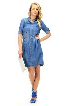 Kocca - Abiti - Abbigliamento - Scamiciato in tessuto morbido in jeans con taschini applicati e cinturina inclusa. - L445 - € 109.00