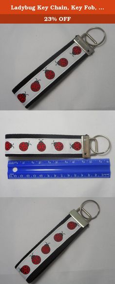 """Ladybug Key Chain, Key Fob, Wristlet Key Chain, Wristlet Key Fob. Our Wristlet Key Chains are made using heavy duty cotton webbing. Ribbon is sewn on for added durability. The large loop is perfect for slipping your wrist through for hands free shopping. It also makes it easy to find in bags. Key Chain length is approximately 5"""" and fits most wrists. A perfect gift for that new driver, a special gift for someone or yourself!."""