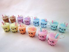 Fimo Bubble Tea Boba Drink Kawaii Polymer Clay Earrings