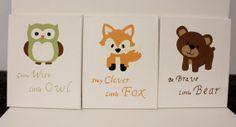 grow wise little owl painting, woodland animals decor, fox bear owl decor, boy/girl nursery wall decor, acrylic woodland animal paintings via Etsy