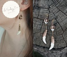 The Ecology Box Coyote Tooth Earrings  http://www.theecologybox.com/blog/2013/9/11/tooth-earrings-diy