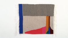 Hand woven abstract wall hanging wool and cotton by HayleyFJames