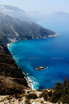 Buy Beautiful Blue Coast in Greece by on PhotoDune. Beautiful Blue Coast in Greek Island Kefalonia Summer Vacations, Greece, Coast, Italy, Island, Stock Photos, Water, Blue, Outdoor
