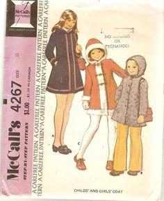 1970s Girls Coat Pattern size 10 McCalls 4267 by CherryCorners, $7.00