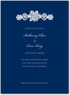 Navy Blue Invitation by Wedding Paper Divas like the simple blue and white and like the snowflake idea